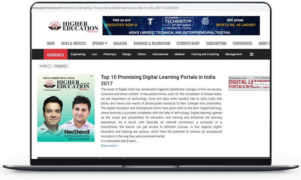 Top 10 Promising Digital Learning Portals in India 2017